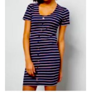 New Navy Striped Button Down Ribbed Knit Dress
